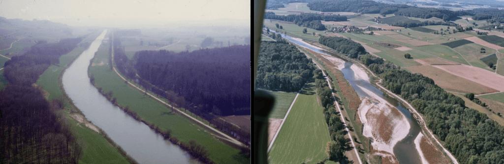 Bild 1:So sah die Thur noch vor zehn Jahren aus (©Christian Göldi) Bild 2:Und so präsentiert sie sich nach der Aufweitung (Aufnahme von der entgegengesetzten Seite, ©Christian Göldi)
