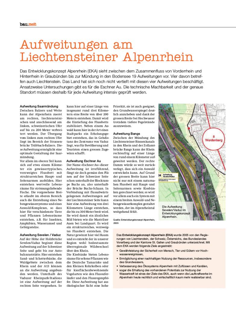 Vier Aufweitungen sind im Entwicklungskonzept Alpenrhein für die Schweizerisch-Liechtensteinische Strecke vorgesehen (bau:zeit Nr. 38/2016)