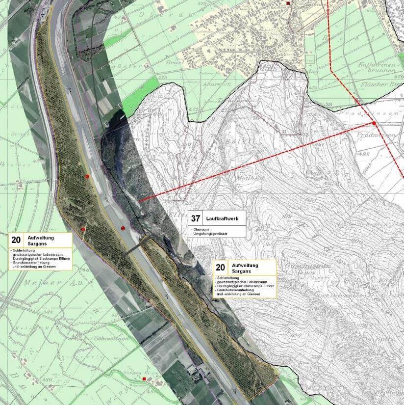 Aufweitung Sargans: Zwischen Bad Ragaz und Trübbach soll der Rhein auf einer Länge von 6 km bis zu 250 m breit werden (Quelle: Entwicklungskonzept Alpenrhein, S. 369)