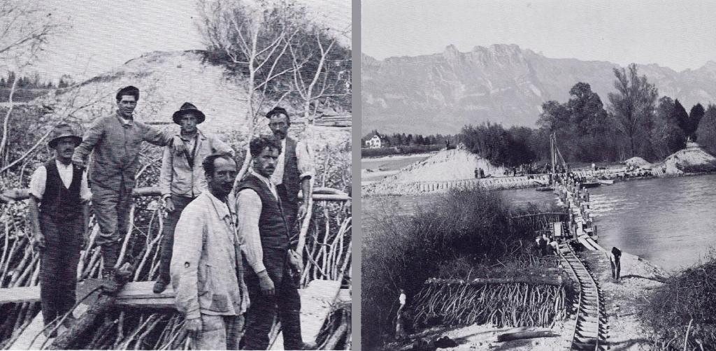 """Auch diese historischen Fotos zeigen den Aufbau des """"angeschnittenen"""" Rheindamms aus Kies-Sand (aus """"Rheinnot in Liechtenstein"""" (1977), Herausgegeben von den Gemeinden Eschen, Gamprin, Mauren, Ruggell, Schaan und Schellenberg, S. 58 (links, Gemeindearchiv Schaan / Foto: Augustin Hilty) und S. 59 (rechts)."""