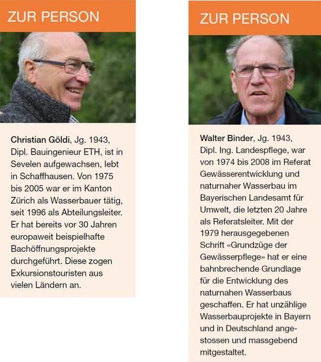 """Christian Göldi (links) und Walter Binder: """"Zwei Leben für den naturnahen Wasserbau"""""""