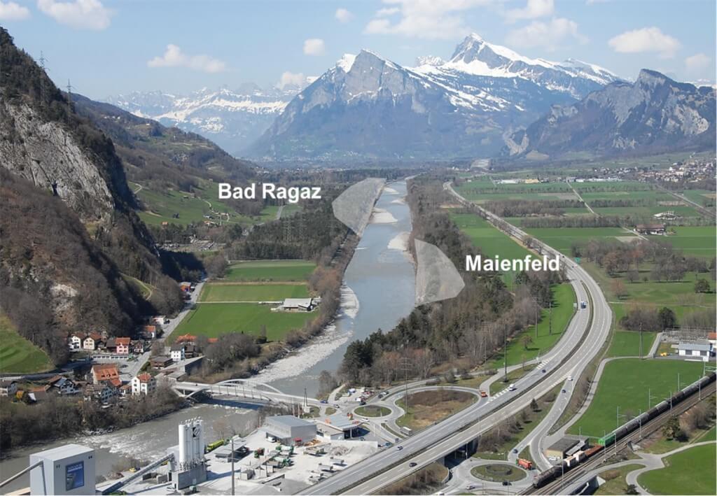 Auf der Höhe von Maienfeld und Bad Ragaz soll der Rhein doppelt so breit werden wie heute (Quelle: Internationale Regierungskonferenz Alpenrhein IRKA)