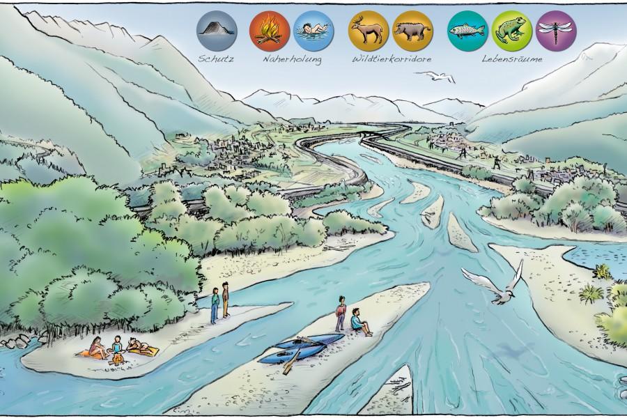 Alpenrhein-Aufweitungen auf vier Seiten in der bau:zeit vom 3. September 2016