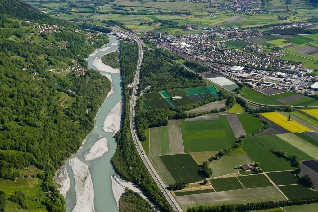 Luftaufnahme der Mastrilser Auen (©Dietmar Walser)