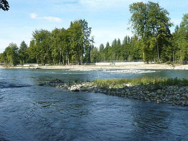 Kiesinseln sollen von der Limmat teilweise abgetragen oder umgelagert werden, was stets für neue Strömungsverhältnisse sorgt und die wiedergewonnene Dynamik des Flusses erlebbar macht. (©Grün Stadt Zürich)