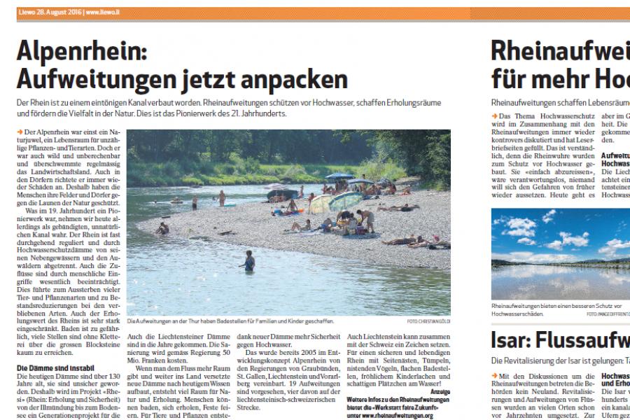 Doppelseite über die Rheinaufweitungen in der LieWo vom 28. August 2016