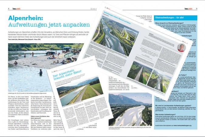 """Fünf Seiten zu den Rheinaufweitungen in der """"bau:zeit"""" September 2017"""